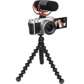 Fujifilm X-A7 Mirrorless Digital Camera Vlogger Kit, Silver with Fujinon XC15-45mm F3.5-5.6 Optical Image stabilisation Power Zoom Lens, Joby Gorilla Pod 1K, RODE Video Mic Go